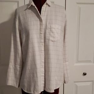 Madewell Ladies XS Flannel White Windowpane L/S